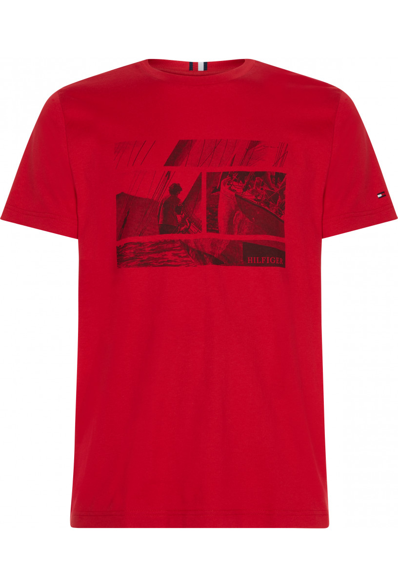 TOMMY FLAG PHOTO PRINT TEE
